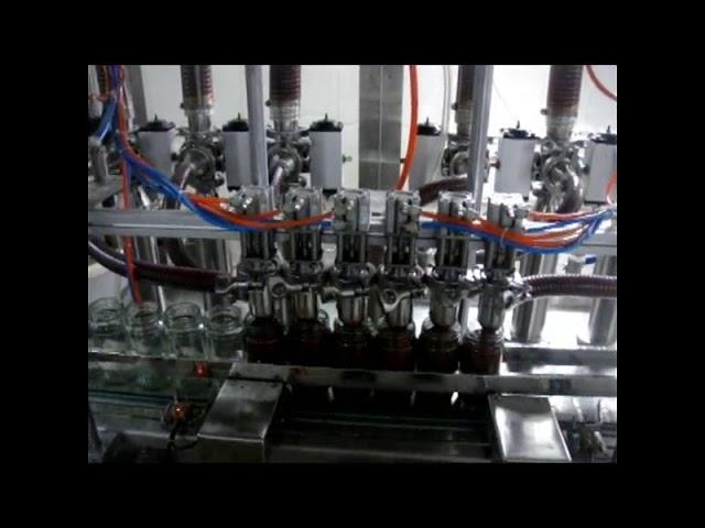 Lineal automática de 4 cabezas botella de pistón salsa de ketchup viscoso máquina de envasado de líquidos
